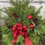 Planter B 8″ Solid bow in red with accents and cones.